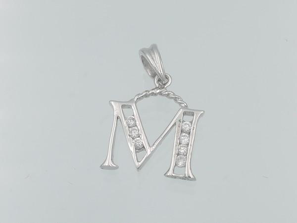 stříbrný přívěsek s kamínky písmeno M