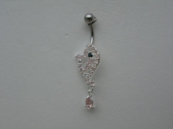 Stříbrný piercing do pupíku