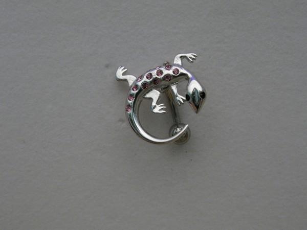 Stříbrný piercing do pupíku Ještěrka s průsvitnýmii kamínky , Ag 925