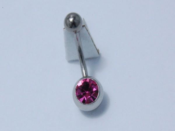 Chirurgická ocel - piercing do pupíku růžový