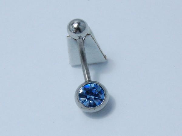 Chirurgická ocel - piercing do pupíku modrý