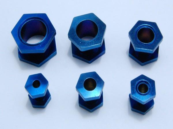 Tunel - modrý- matka 4,až 12mm Tunel tvar matka, velikost 4,5,6,8,10,12mm