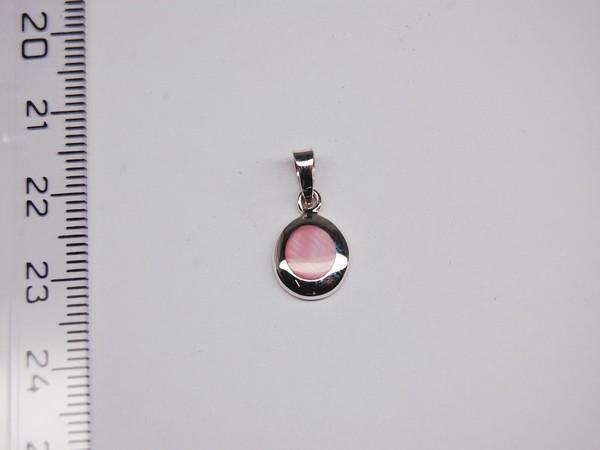 Stříbrný přívěsek - růžová perleť
