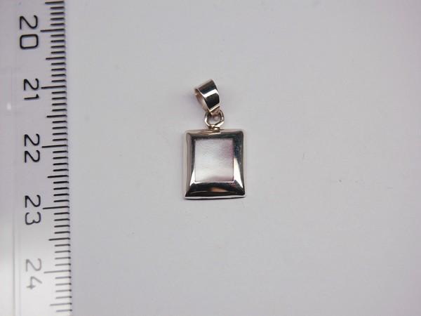 Stříbrný přívěsek - čtverec - růžová perleť