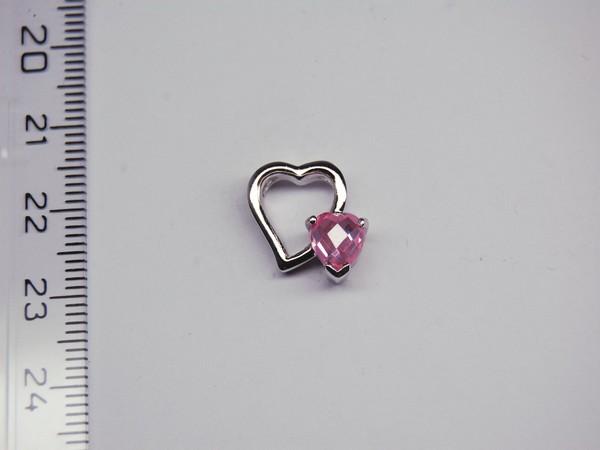 Stříbrný přívěsek - srdíčko - růžový kamínek