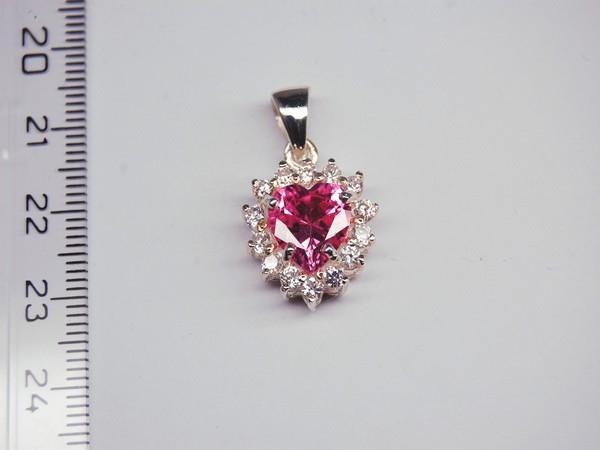 Stříbrný přívěsek - růžový kamínek