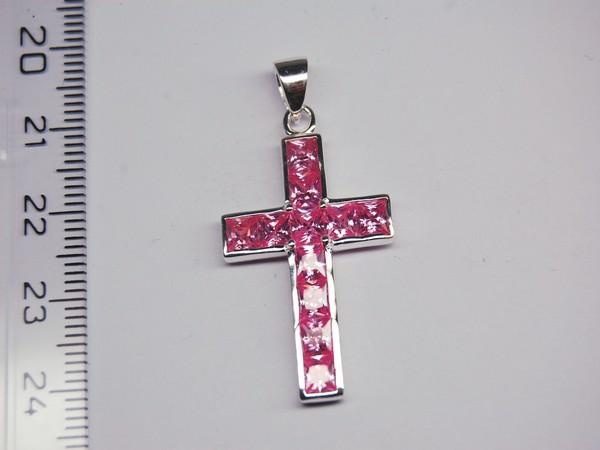 Stříbrný přívěsek -růžový kříž Stříbrný přívěsek rhodiovaný
