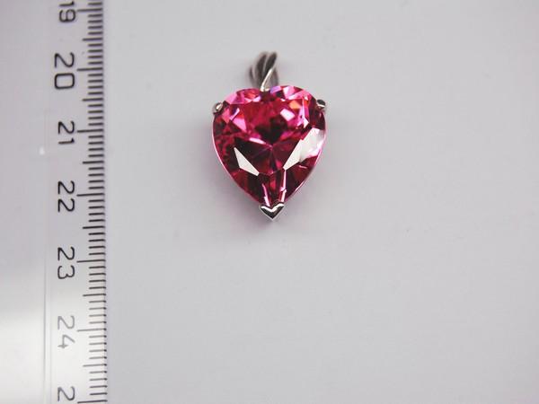 Stříbrný přívěsek - růžový kámen - srdce