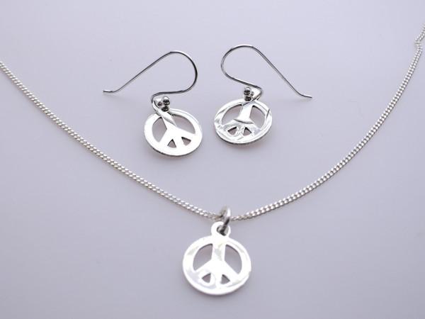 Stříbrný komplet - naušnice , přívěsek, řetízek - peace set peace - mír