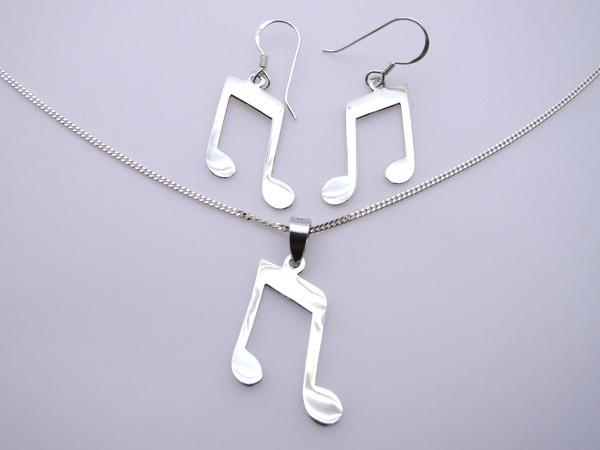 Stříbrný komplet - naušnice , přívěsek, řetízek nota