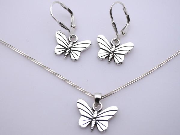 Stříbrný komplet - naušnice , přívěsek, řetízek - motýl set motýlek