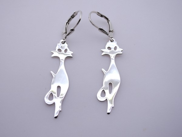 Stříbrné naušnice - kočky kočka, náušnice - ze stříbra 925/1000