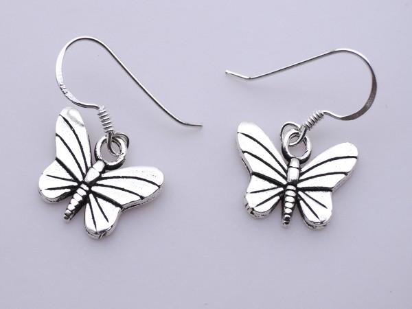 Stříbrné naušnice - motýl motýlek, náušnice - ze stříbra 925/1000