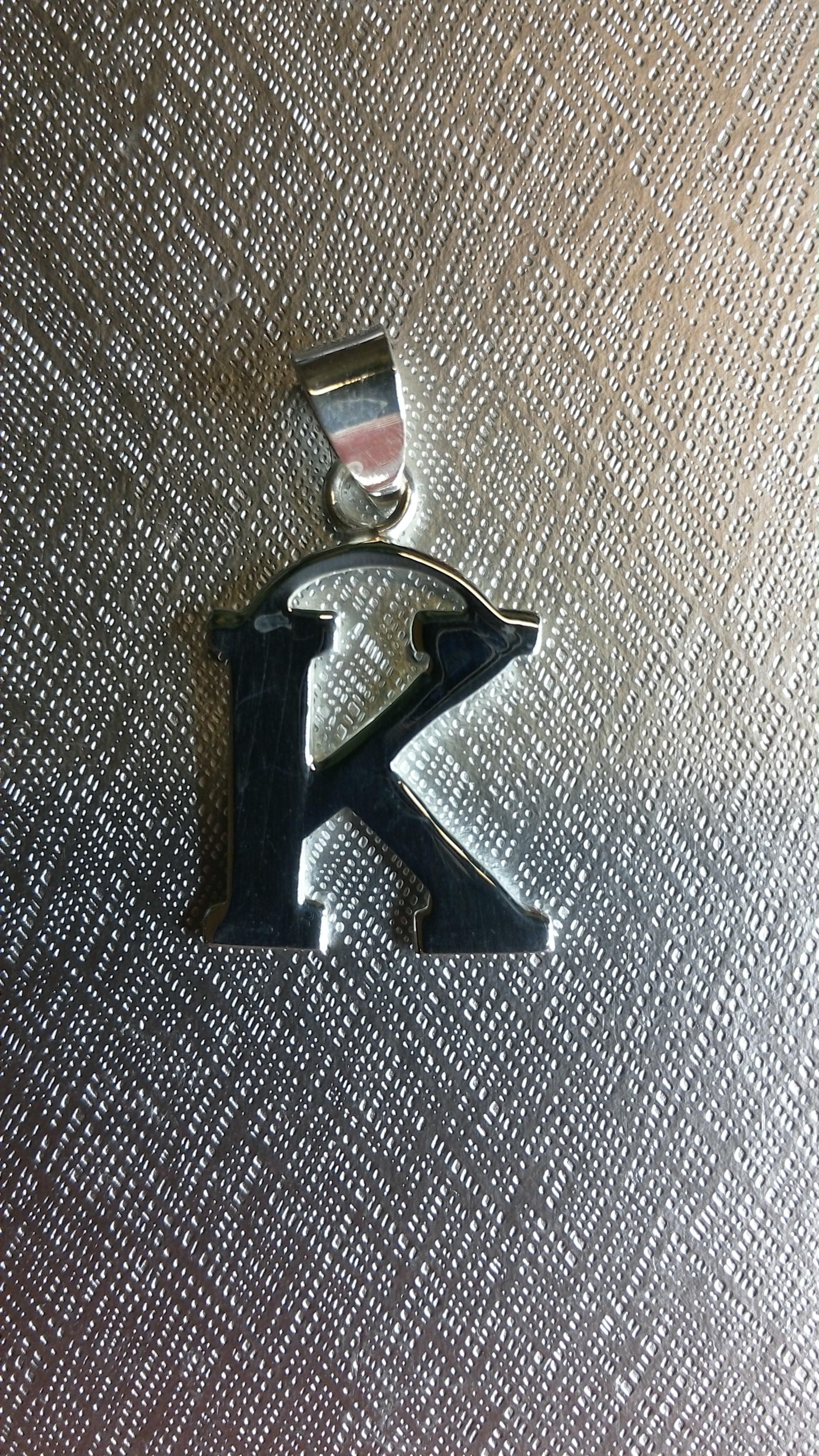 Ag/925 stříbrná písmena - písmenko K písmeno K