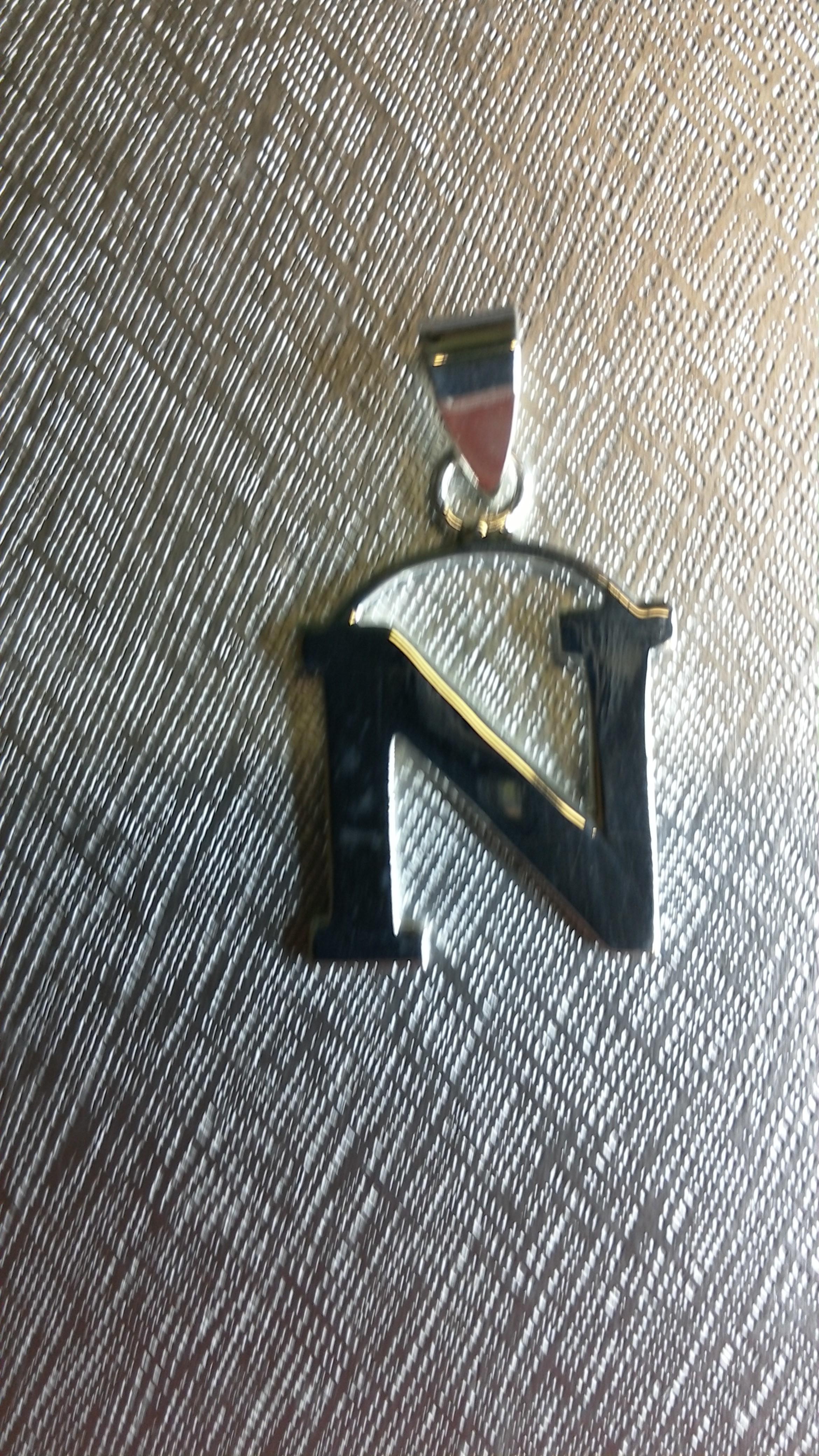 Ag/925 stříbrná písmena - písmenko N písmeno N