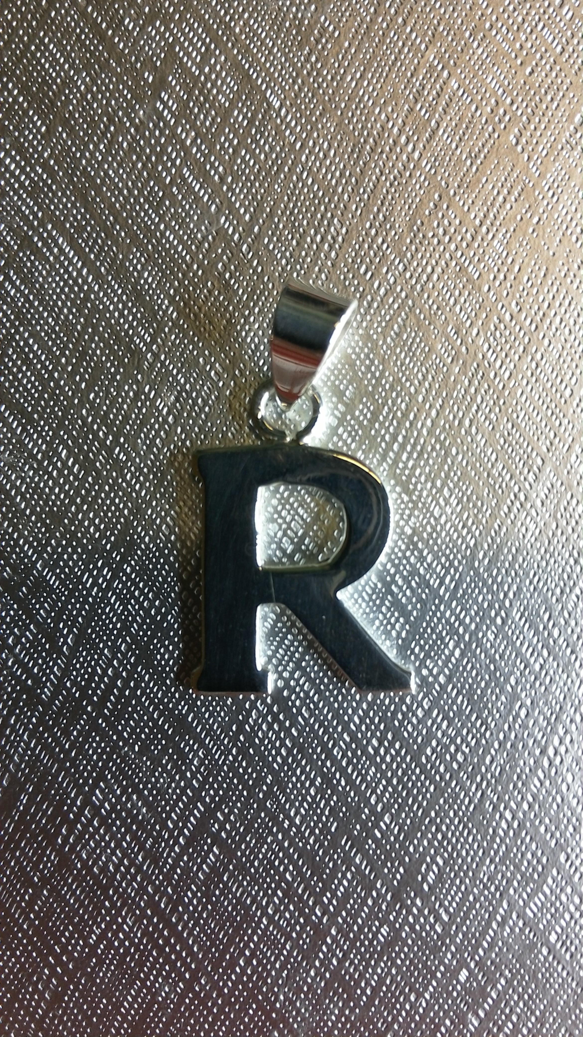 Ag/925 stříbrná písmena - písmenko R písmeno R